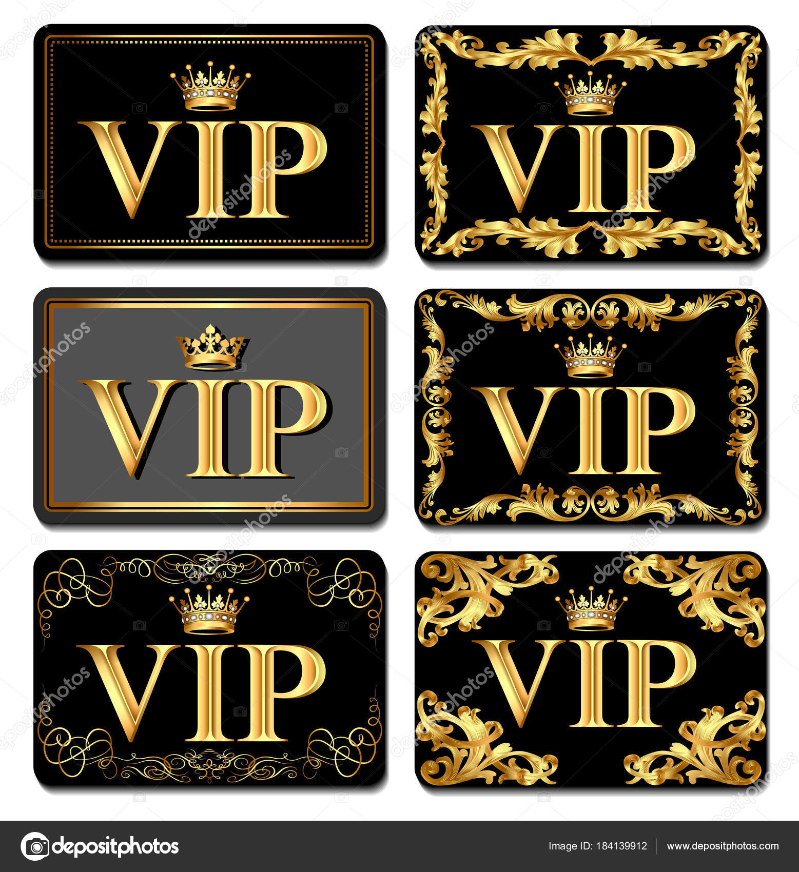 Illustration on the design of VIP business cards gold with crown ...