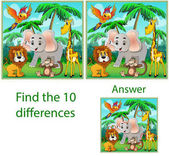 Childrens illustration Visual puzzle: find ten differences with