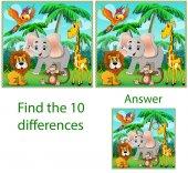 Dětský Obrázek vizuálního puzzle: najít deset rozdílů s