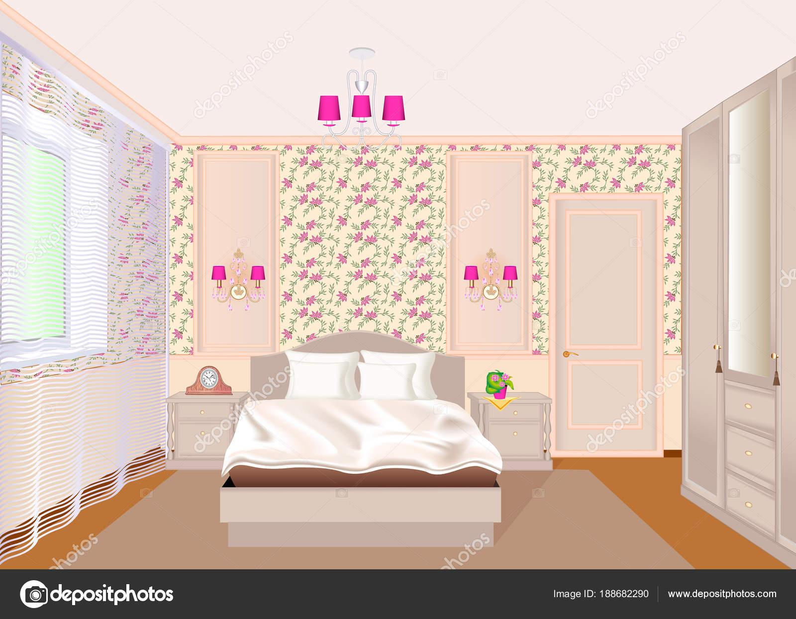 Illustrazione di un interno camera da letto con carta da parati ...