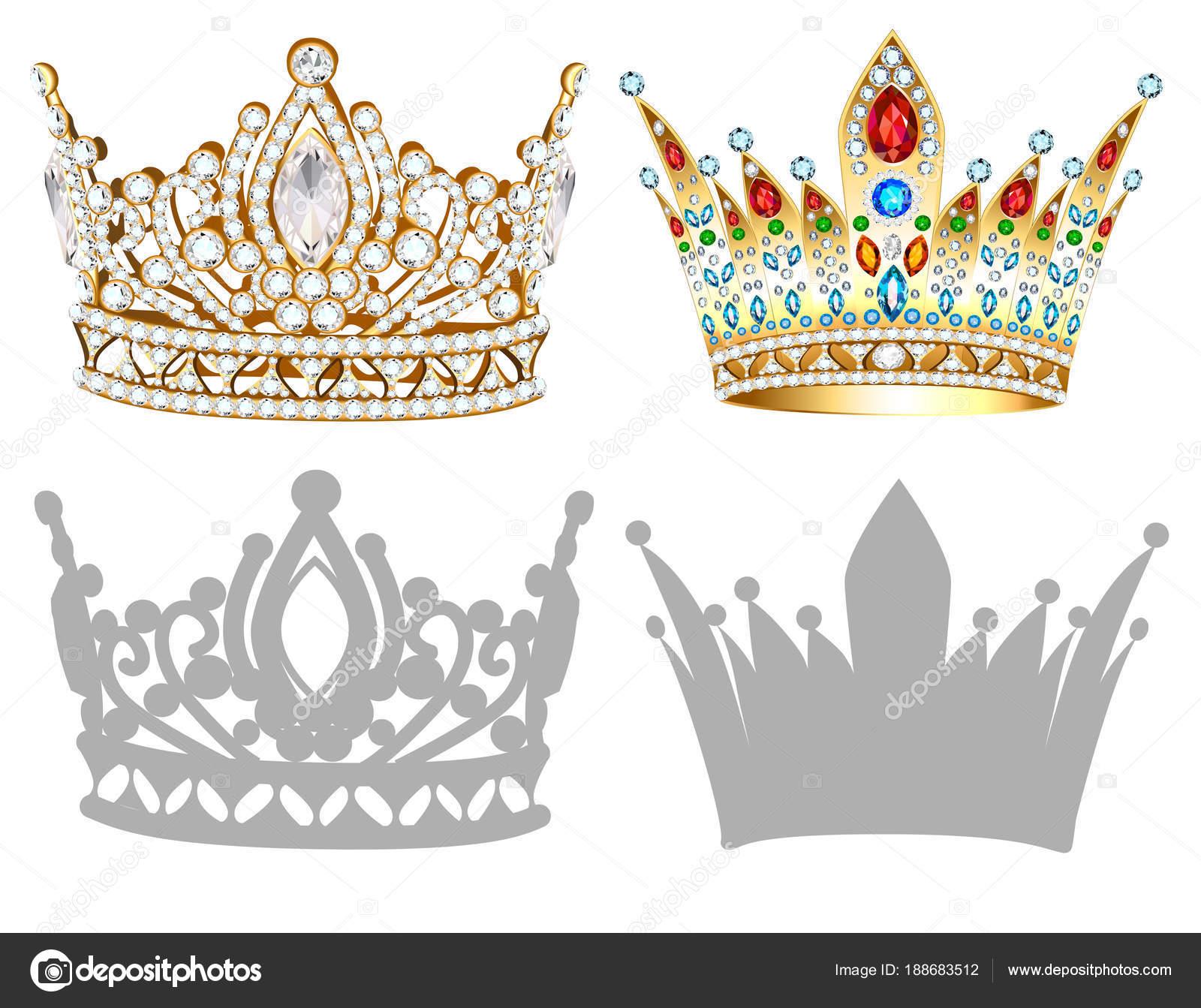 黄金の王冠イラストティアラdiademシルエットのセット ストック