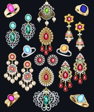 Illustration set of jewelry with precious stones earrings, rings and pendants.