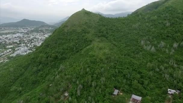 Letecký pohled na hory, tropické stromy a město