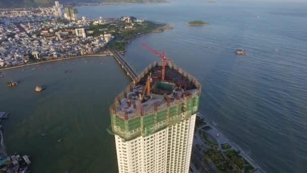 Luftaufnahme vom Bau eines Wolkenkratzers
