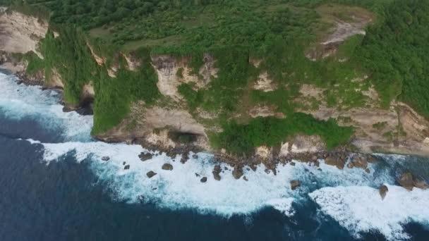 Letecký pohled na pobřeží oceánu s útesy, skály a stromy