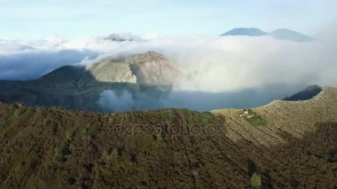 Aerial View of the Crater of the Ijen Volcano