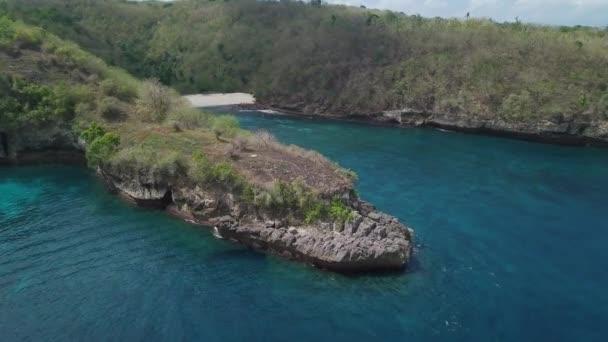Aerial view Crystal Bay, seascape, rocks, cliff, ocean.