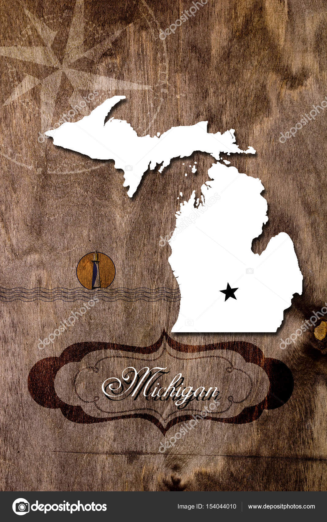 Poster Michigan State Map Outline Stock Photo C Vipdesignusa
