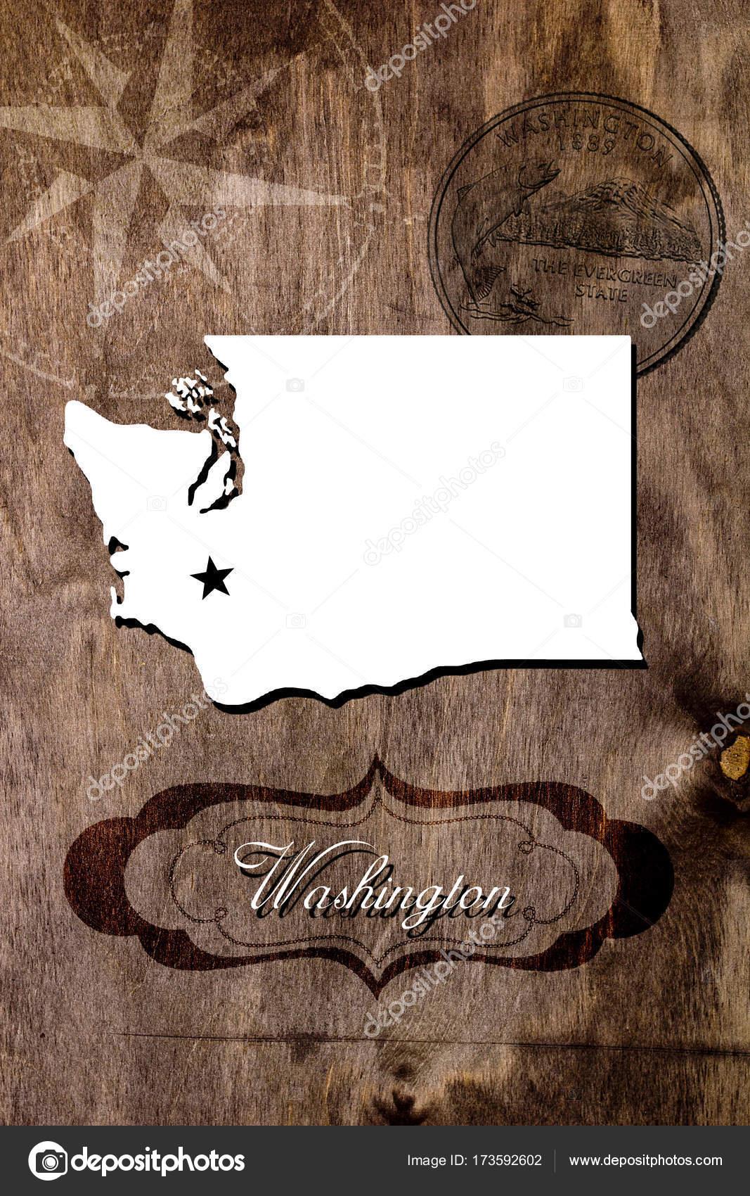 Poster Washington state map outline — Stock Photo © VIPDesignUSA ...
