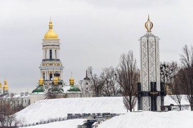 Kiev-Pechersk Lavra and Holodomor monument in Kiev