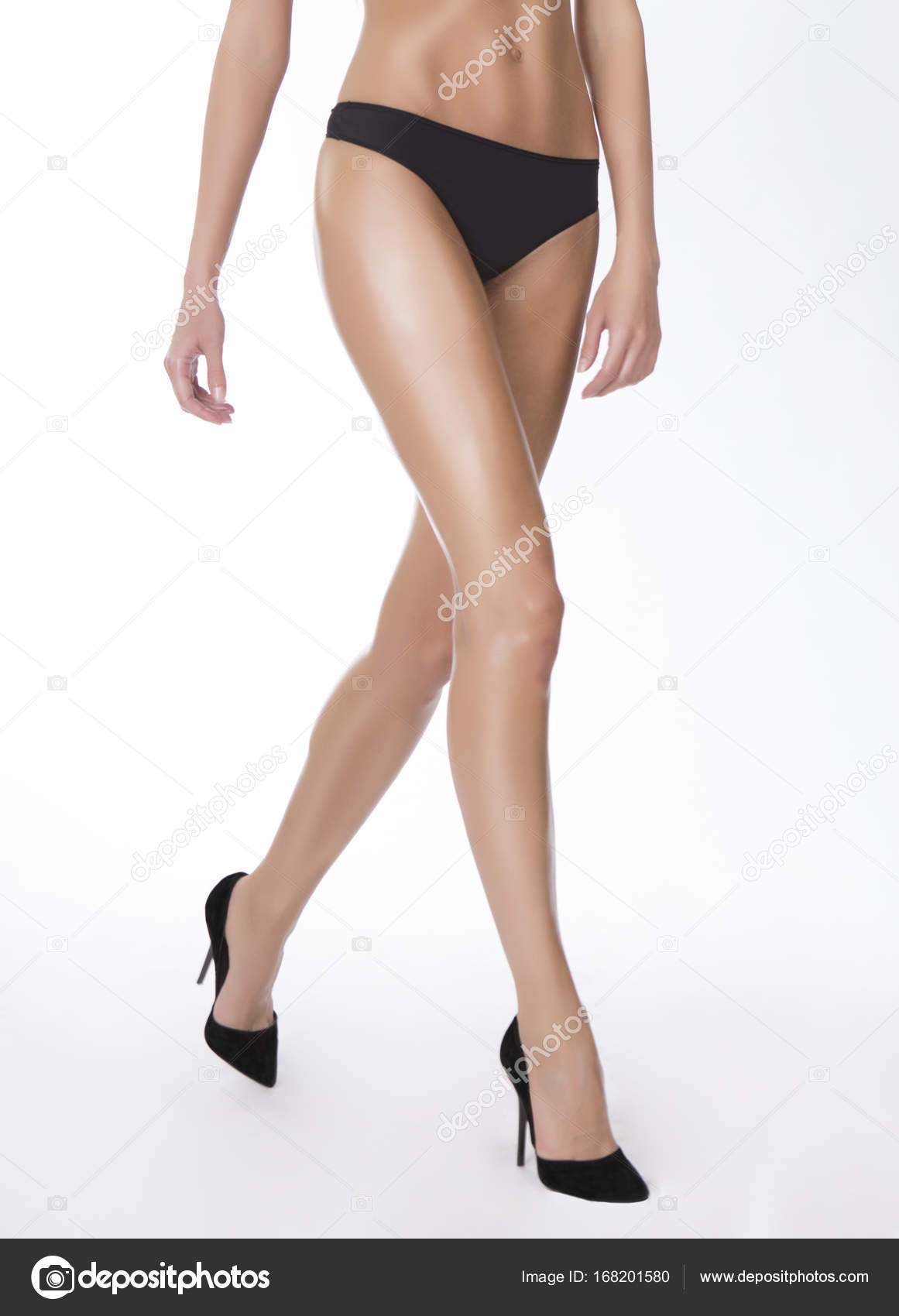 Walking Long Sexy Legs And Heels Stock Photo