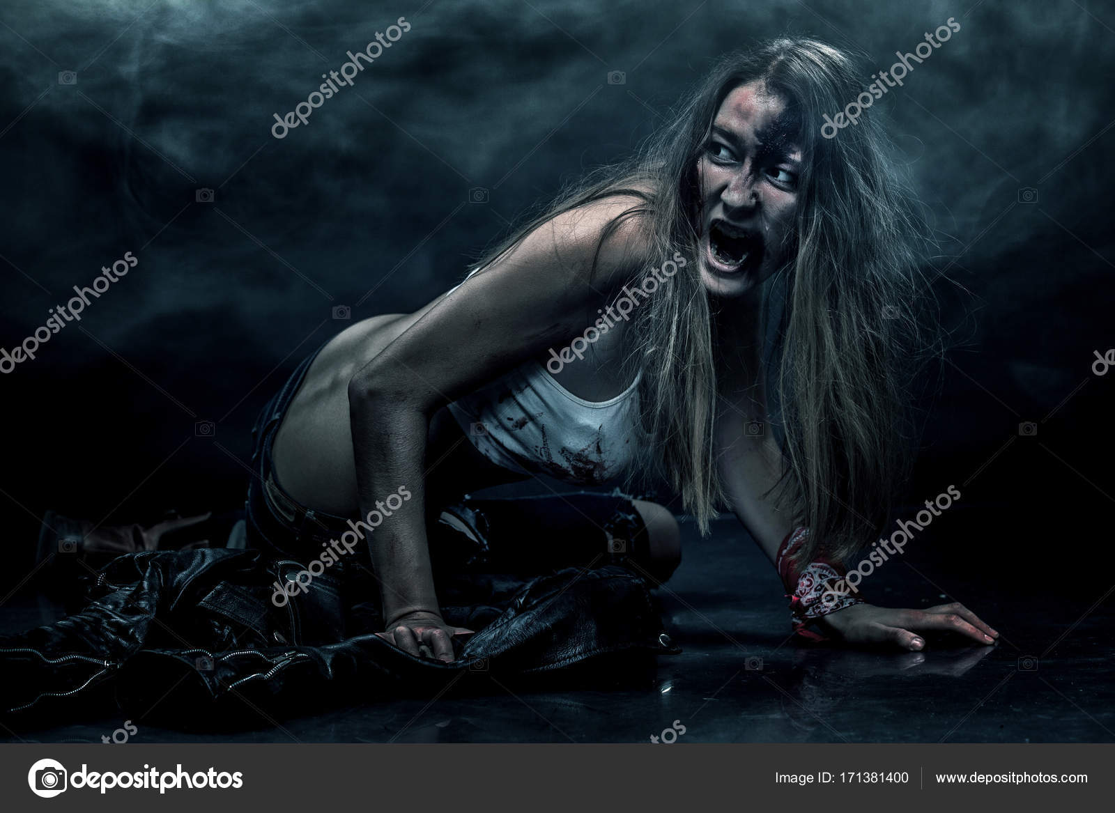 Zombie woman, Horror background for halloween concept and