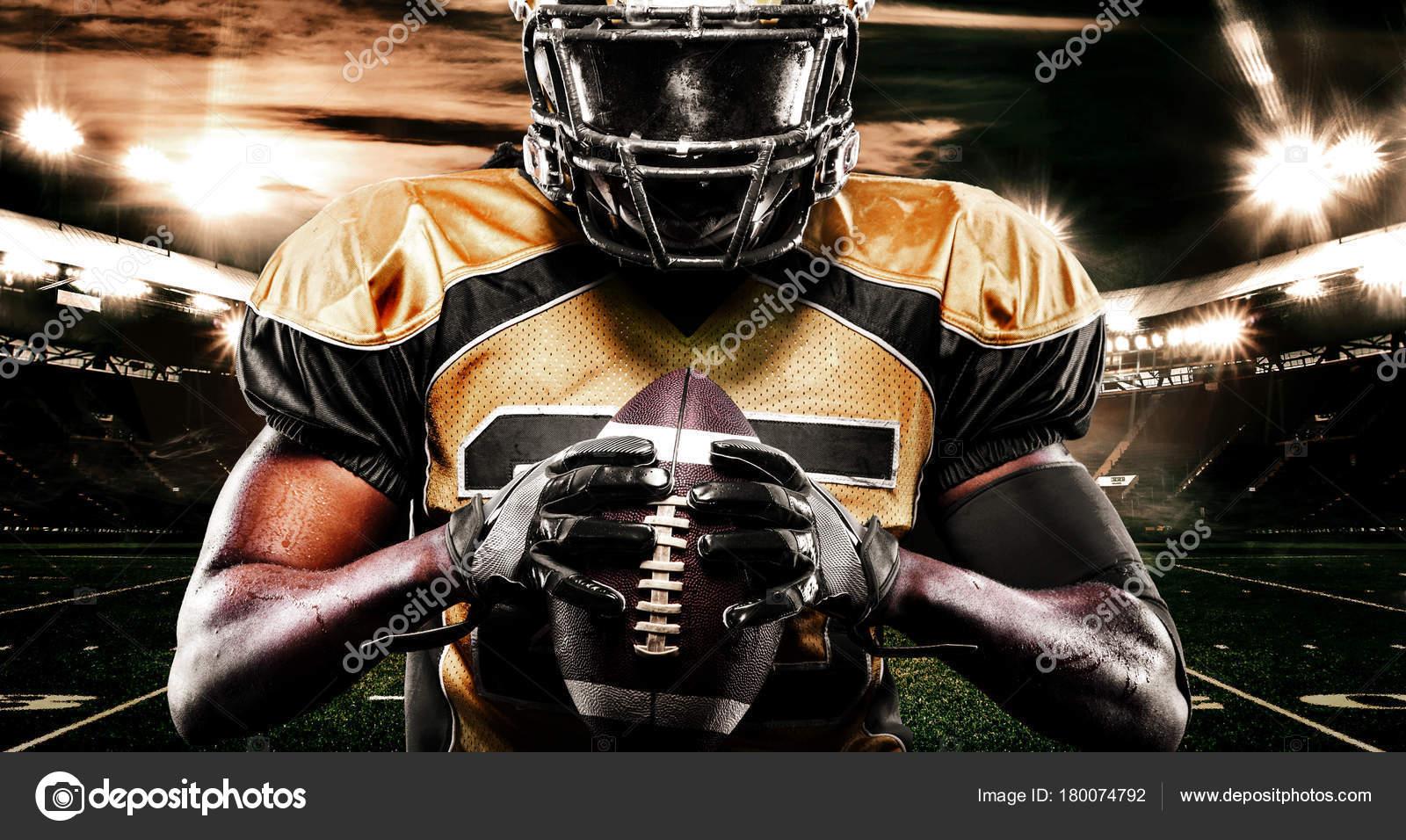 American Football Sportsman Player On Stadium Sport