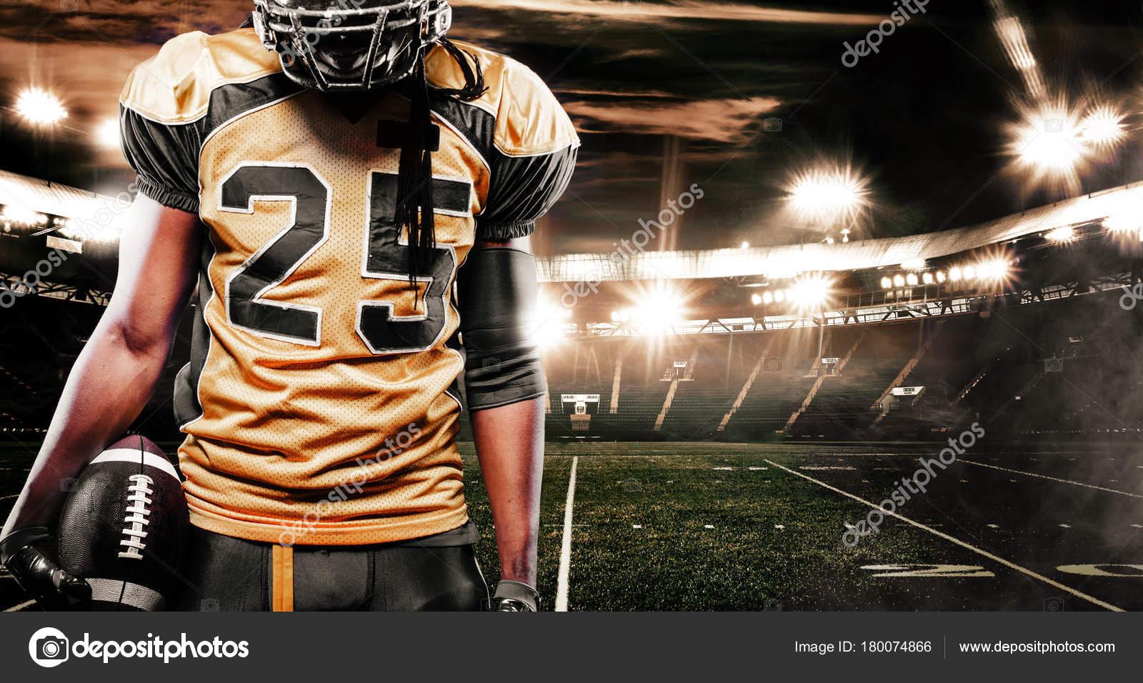 Esporte Tileable Papel De Parede Colorido: Jogador De Futebol Americano Esportista No Estádio. Papel