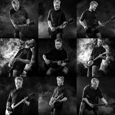 Collage of photos with handsome young musician man playing on guitar and singing in the smoke on stage or scene.