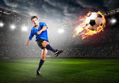 Fényképek játékos rúgja a labdát