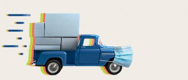 Safe and fast delivery. Car in mask delivering blank boxes. Loaded pickup truck with protection isolated stock vector