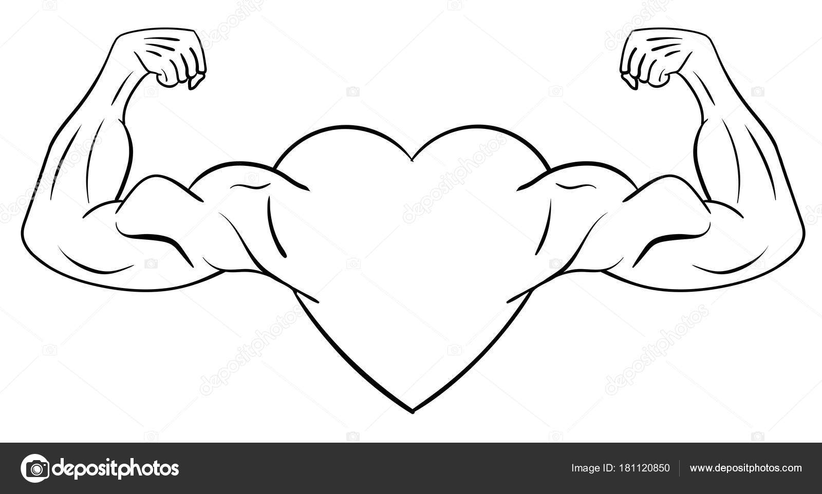 Heart With Muscular Arms Stock Vector Laures 181120850