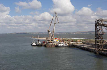 PORT KAVKAZ, RUSSIA: JUNE 11, 2014 - A view of the water area of port Kavkaz