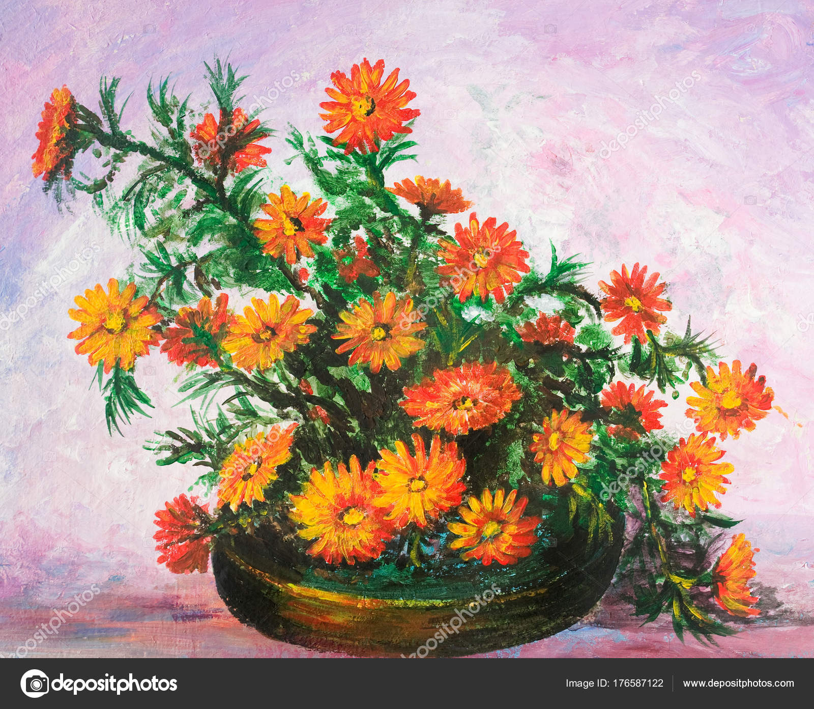 Bouquet Flowers Vase Oil Painting — Stock Photo © kharhan #176587122