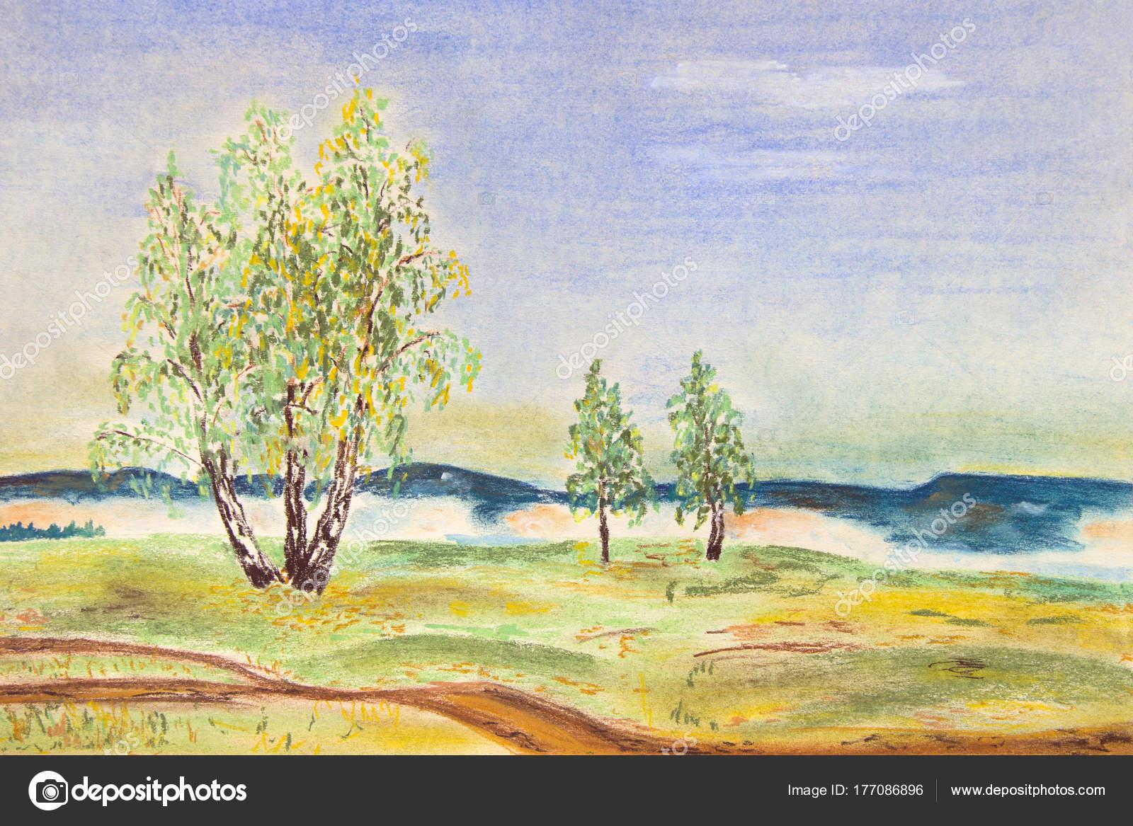 Podzimni Krajina Brizy Poli Pastelove Kresby Stock Fotografie