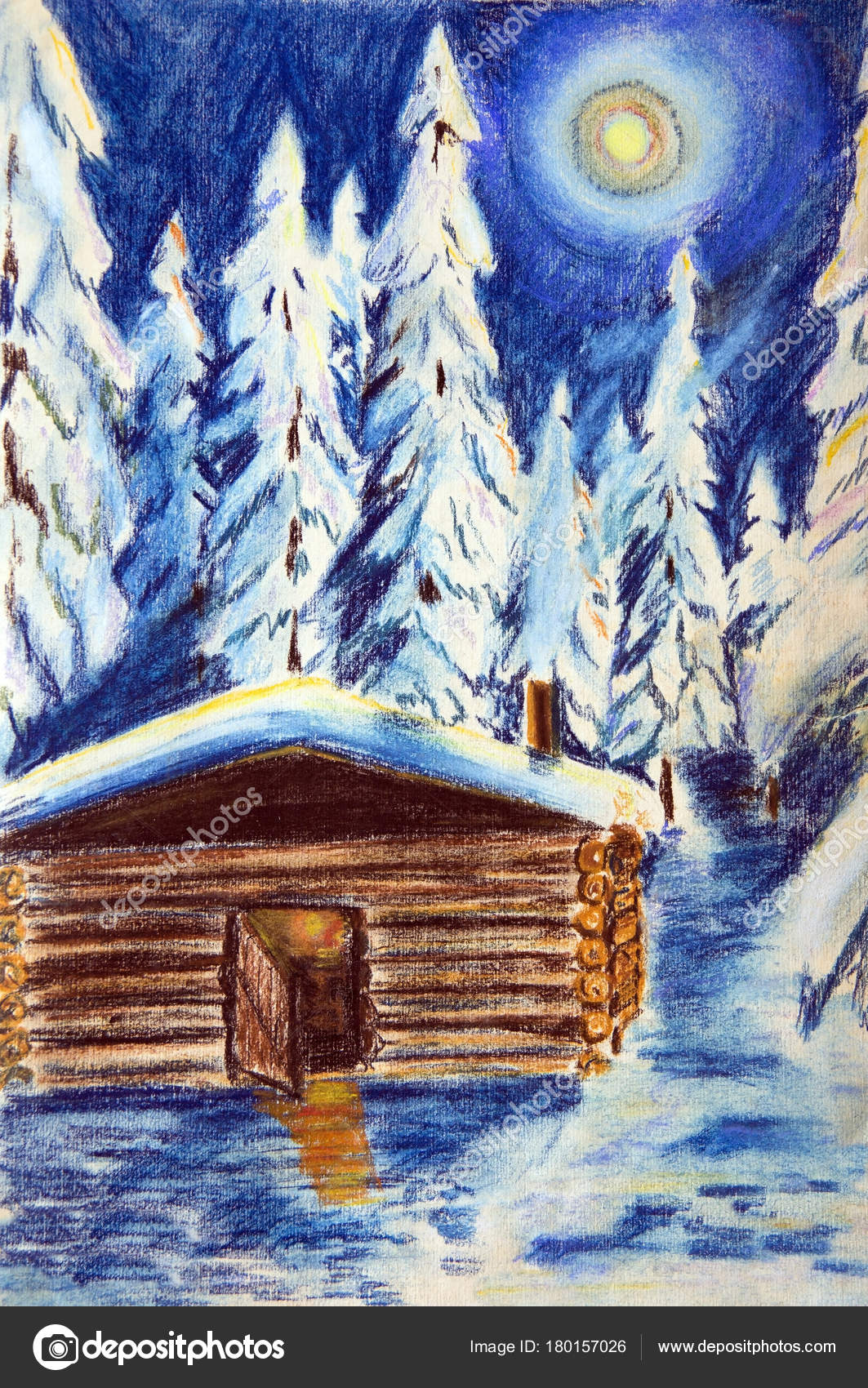 Hut Winter Forest Moonlit Night Pastel Drawing Paper Trees Covered