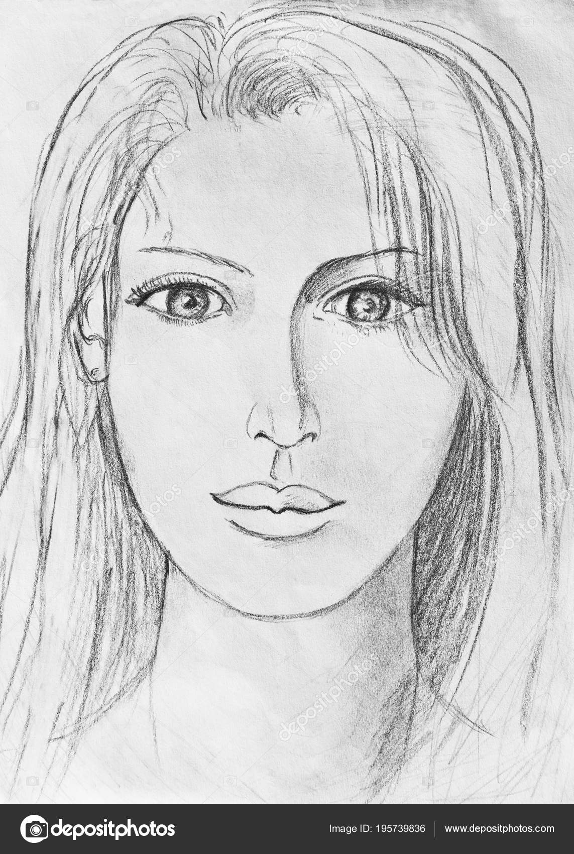 Portrait Young Girl Pencil Drawing Stock Photo C Kharhan 195739836