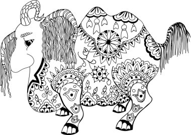 This animal is called Loshara, which drags everything on itself. Hand drawn patterns for coloring. Freehand sketch drawing for adult antistress coloring book