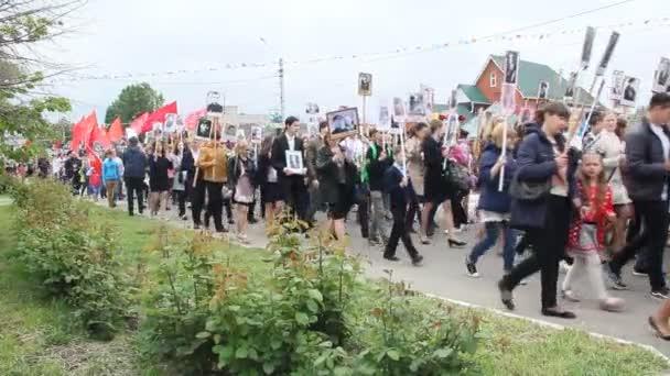 Primorsko-Akhtarsk, Rusko, 9. května 2017: Slavnost Dne vítězství 9. května. Nesmrtelný pluk v den vítězství