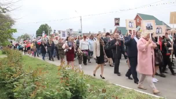 Primorsko- Akhtarsk, Rusko, 9. května 2017: Den vítězství Dovolená 9. května. Nesmrtelný pluk v den vítězství