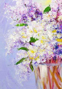 """Картина, постер, плакат, фотообои """"аромат нежной сирени картина"""", артикул 157351360"""