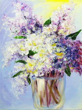 Bouquet of lilac in vase, oil paintings on canvas stock vector