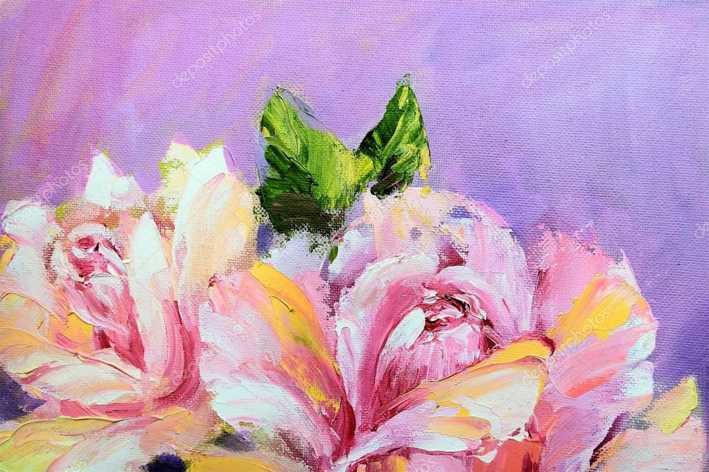 Beautiful roses, oil painting