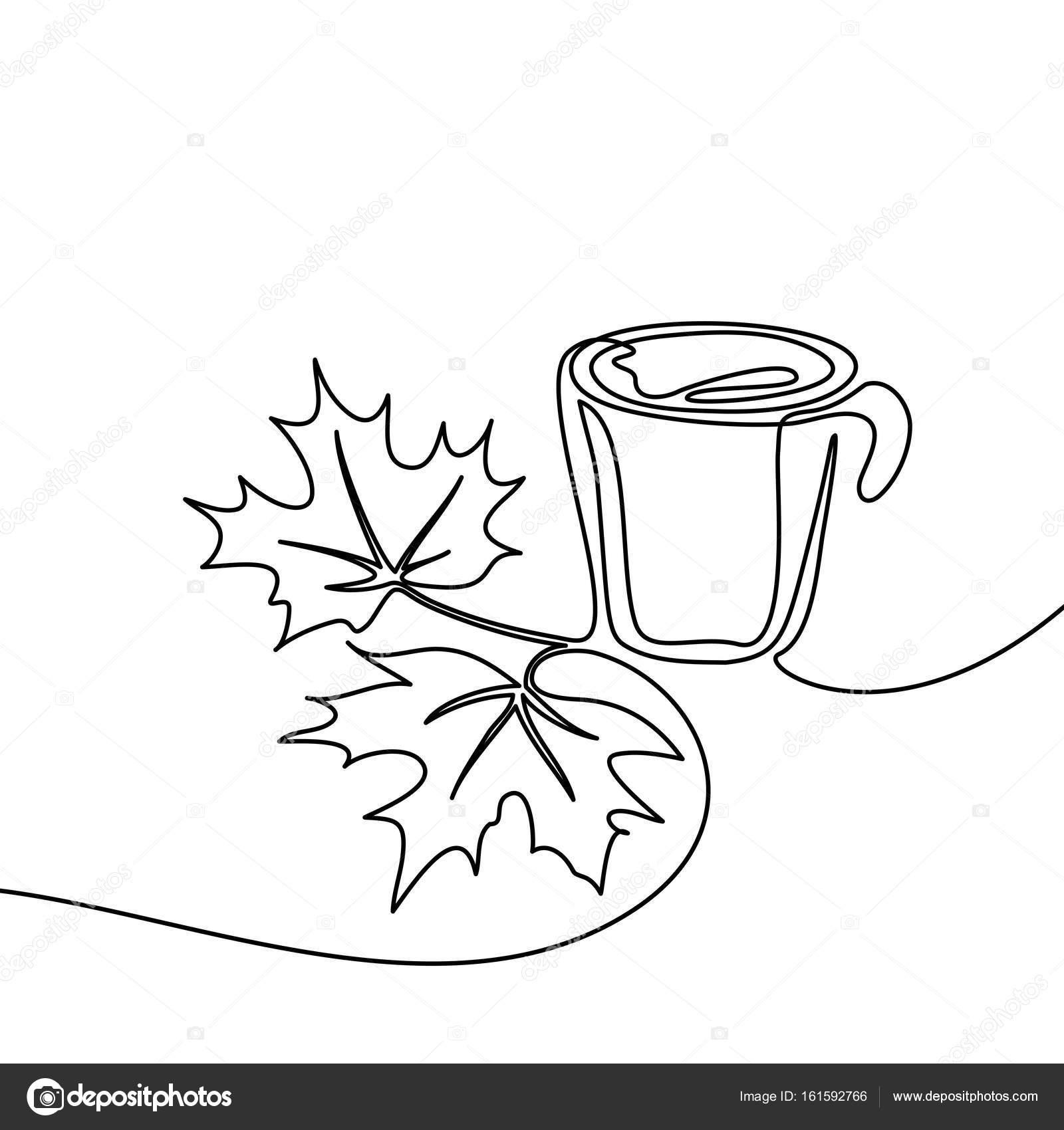 Tasse Kaffee und Ahorn Blätter — Stockvektor © Valenty #161592766
