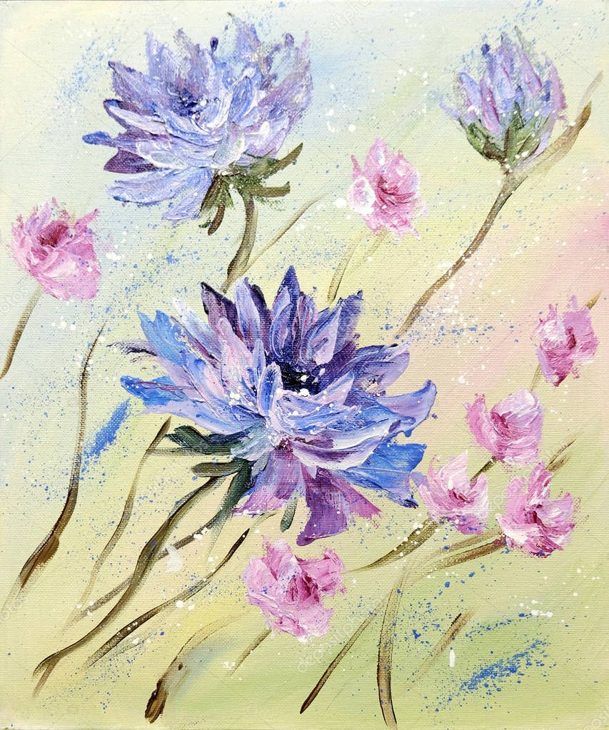 Hand painted modern style Purple and Pink flowers.