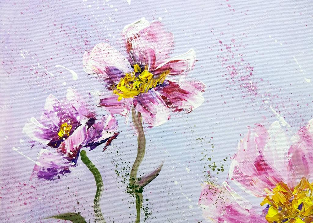Hand painted modern style Pink peonies flowers.