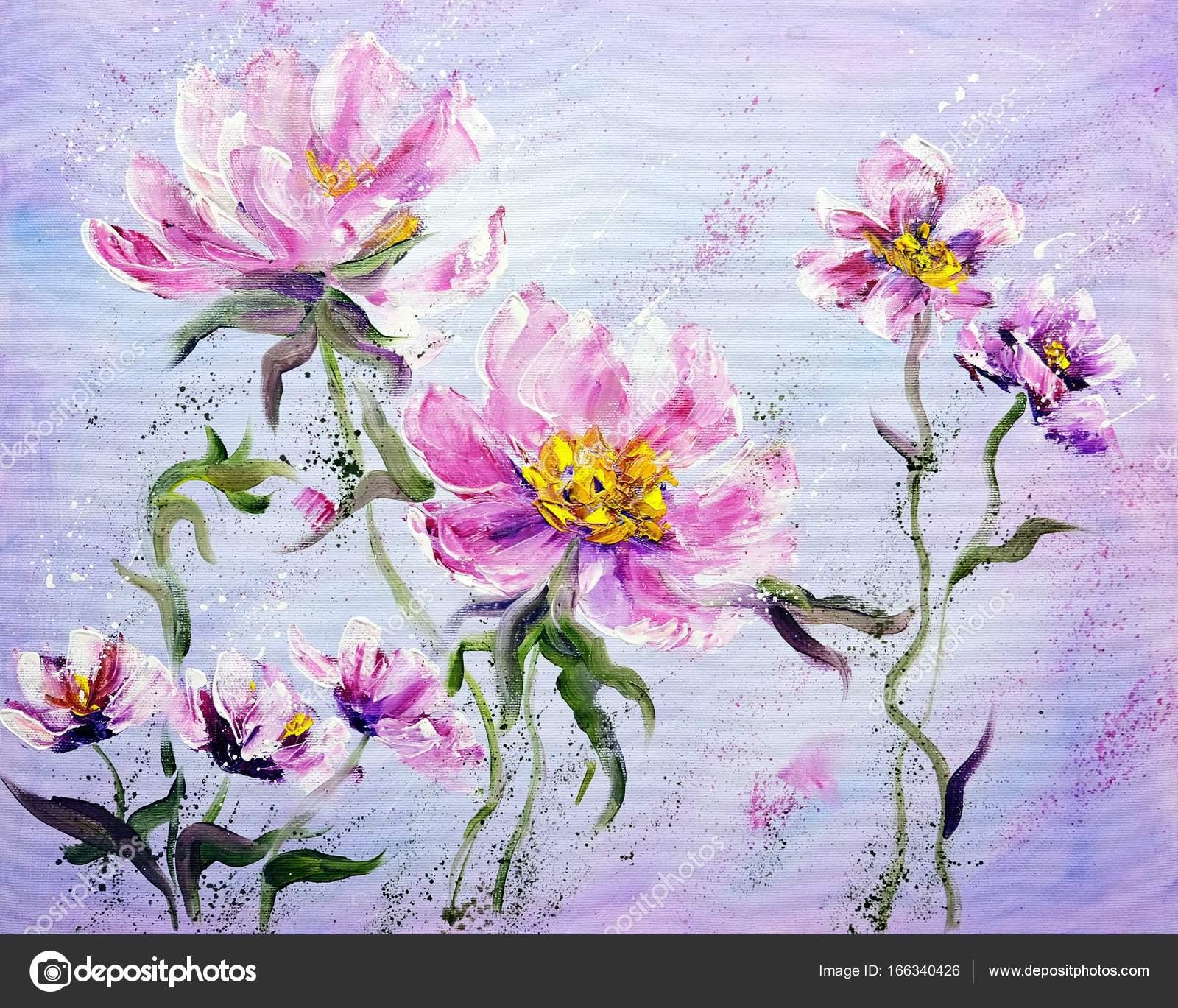 Laminas De Flores Para Pintar Al Oleo Estilo Moderno Pintado A