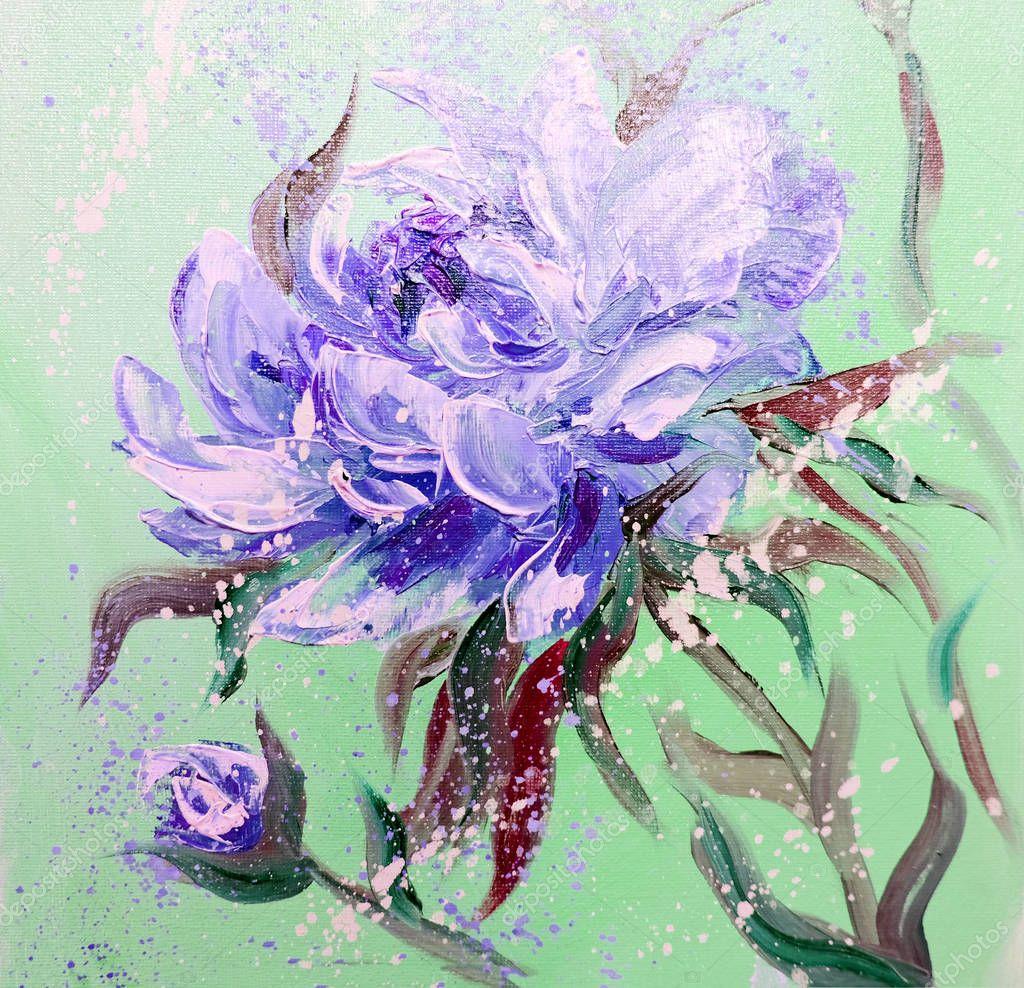Hand painted modern style Purple peonies flowers