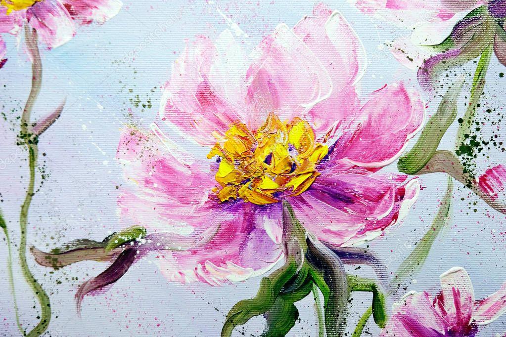 Hand painted modern style Pink peonies flowers.