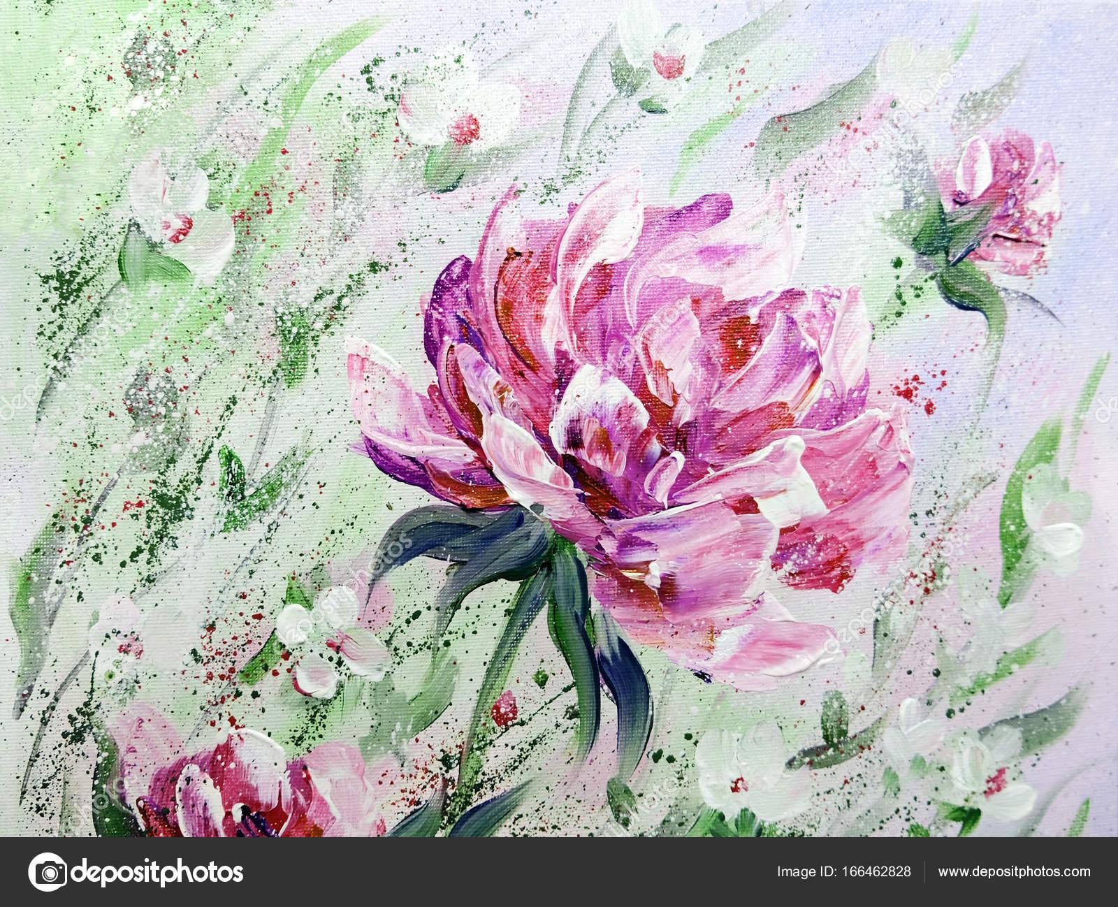 Dipinto a mano stile moderno peonie rosa fiori — Foto Stock ...