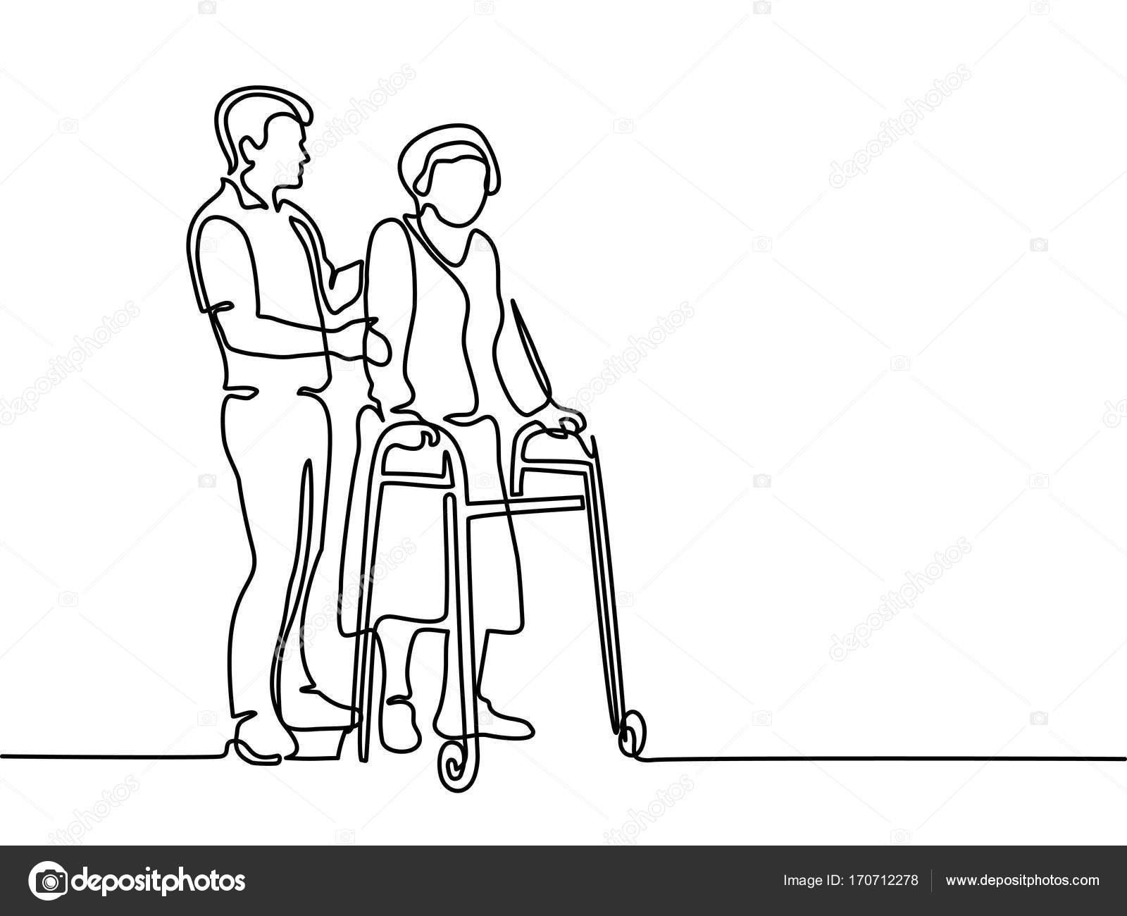 Young man help old woman using a walking frame — Stock Vector ...