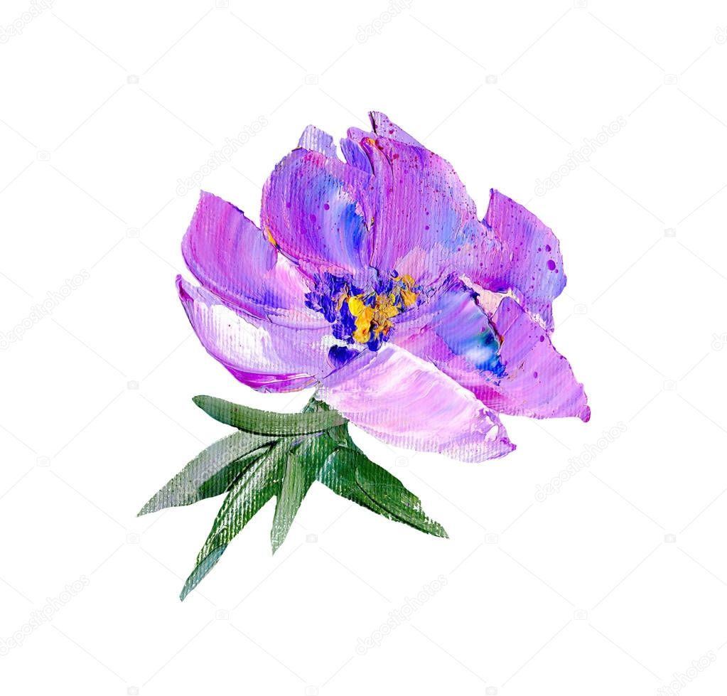 Hand painted modern style purple flower