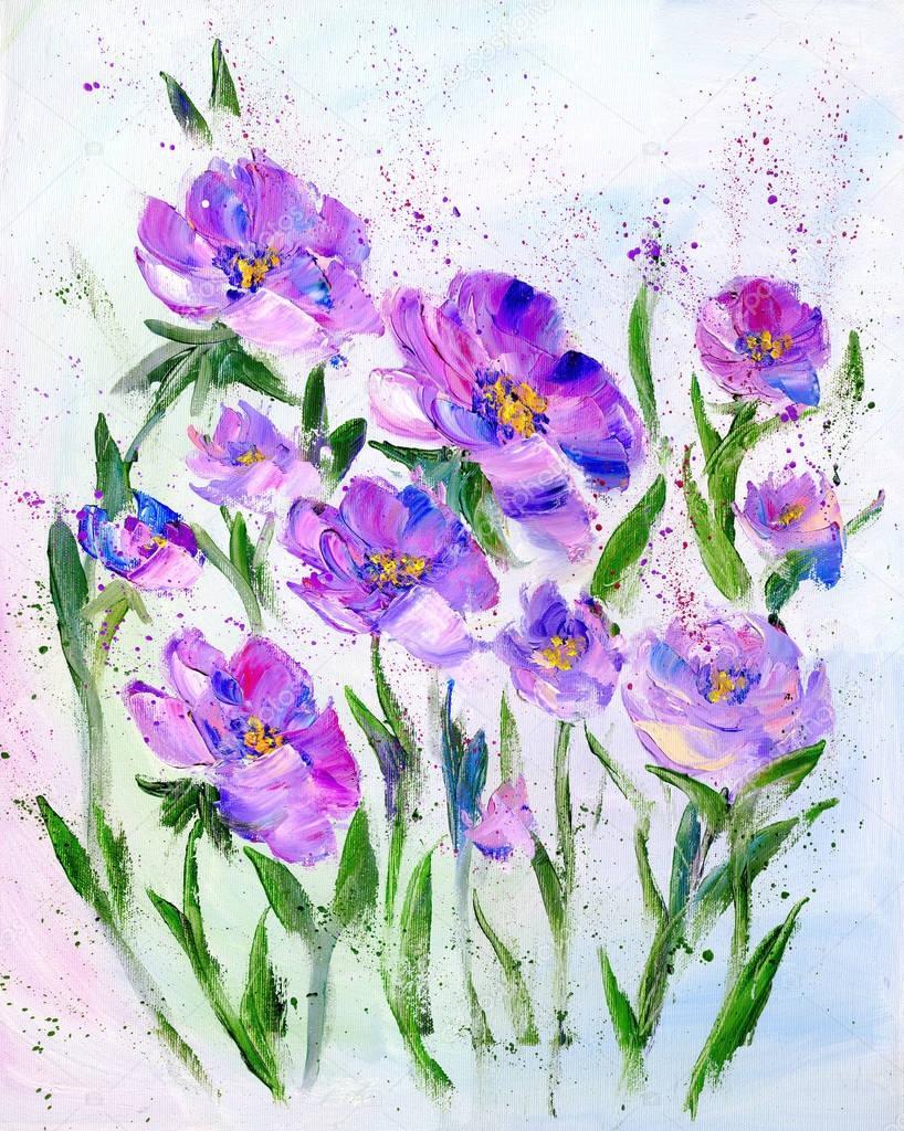 Hand painted modern style purple flowers