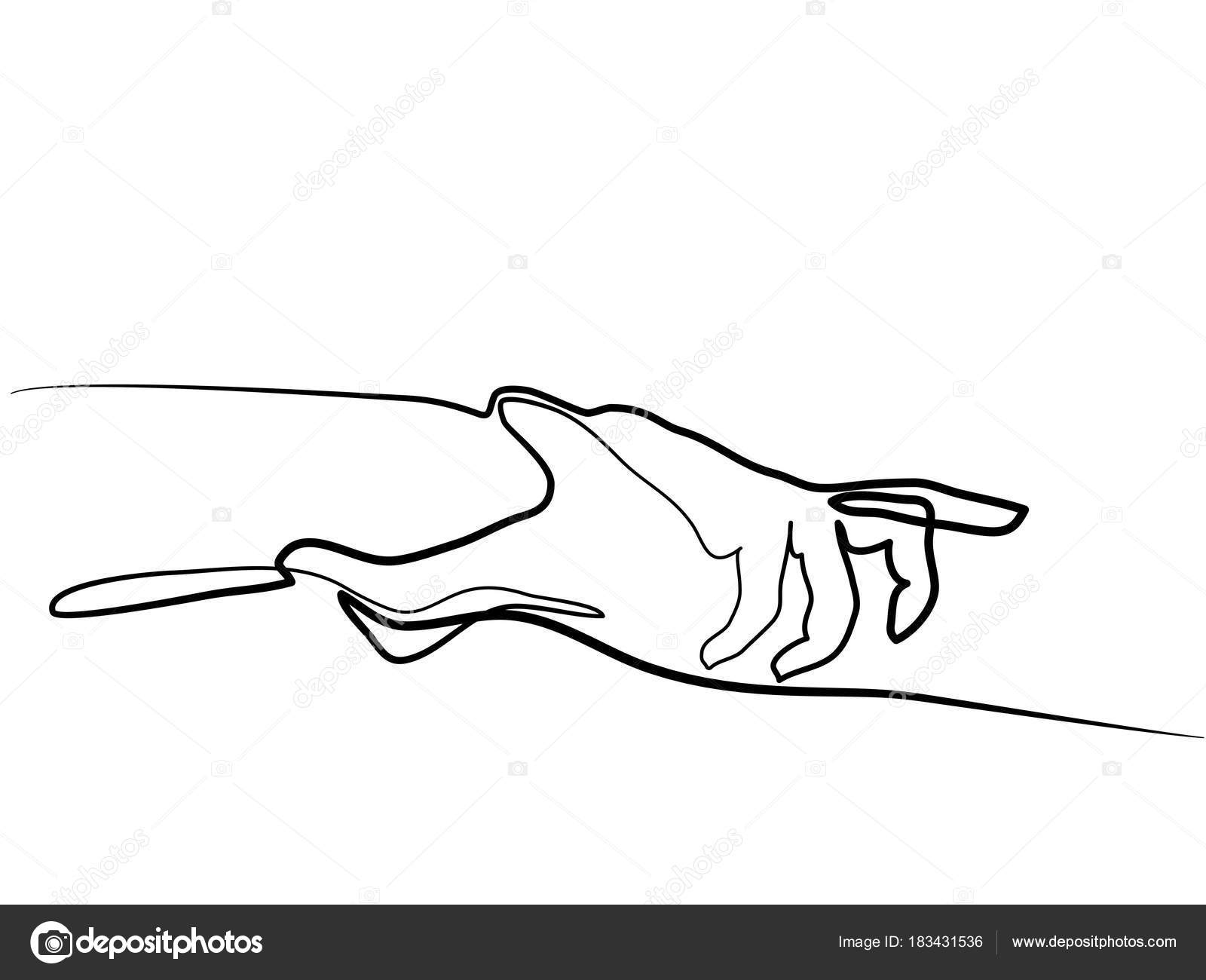 D Line Drawing Hand : Continuous line drawing of holding hands together — stock