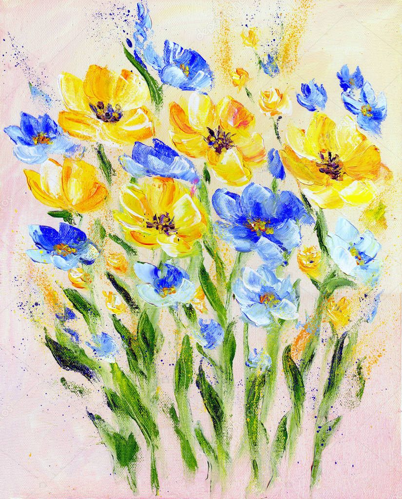 Hand painted modern style yellow and blue flowers