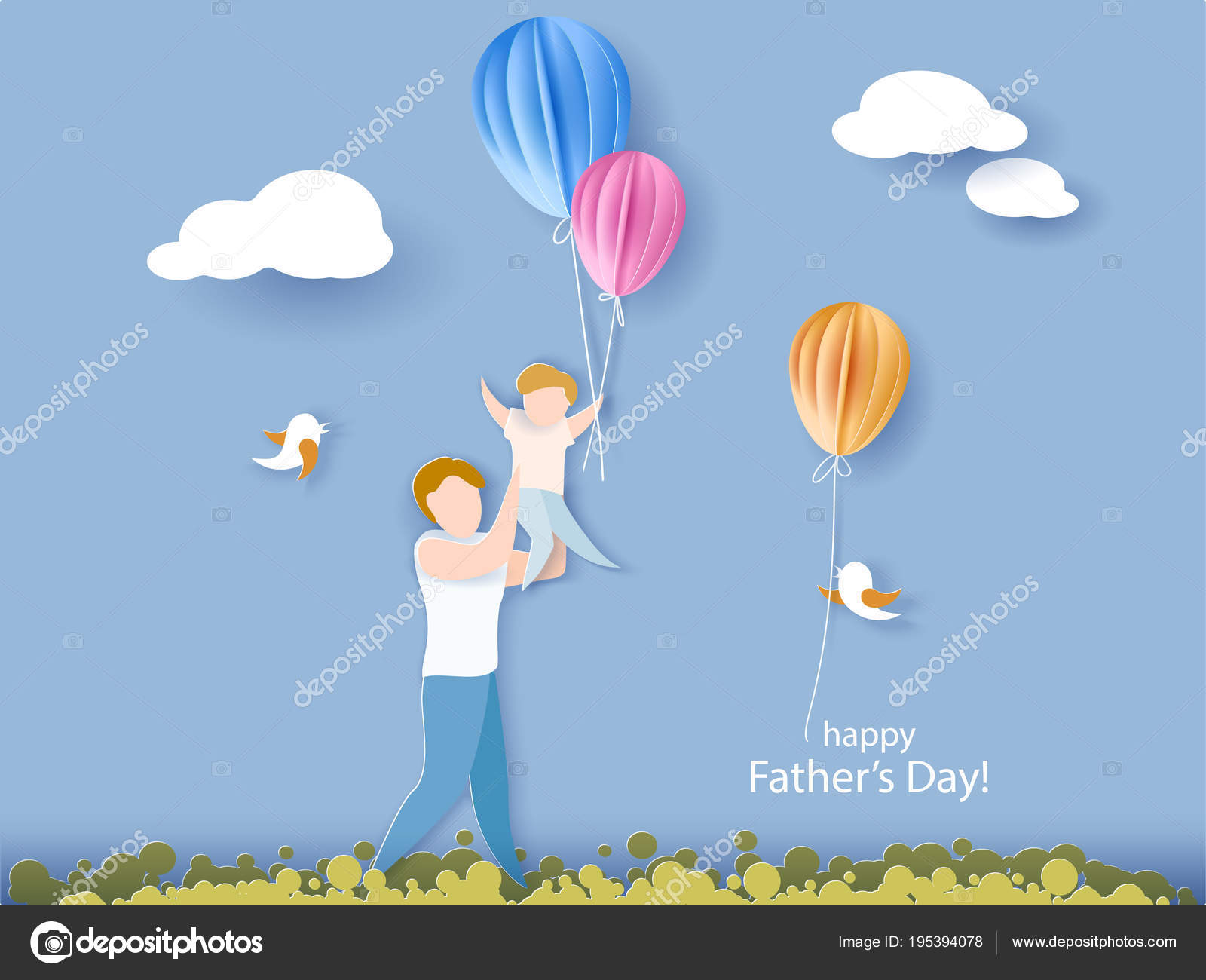 Happy Fathers Day Card Paper Cut Style Stock Vector Valenty