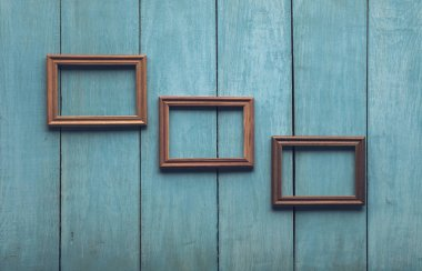wooden frames on old wall