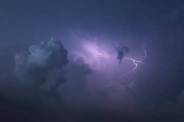 lightning in overcast sky