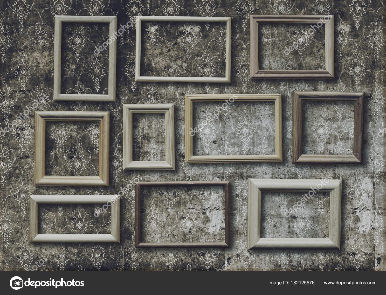 Eingestellt Von Alten Bilderrahmen Auf Retro Tapete — Stockfoto ...