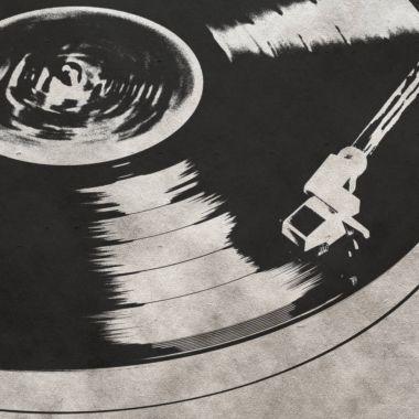 vintage musical background with vinyl LP